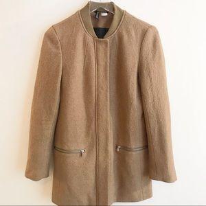 H&M Divided Camel Cognac Wool Blend Overcoat